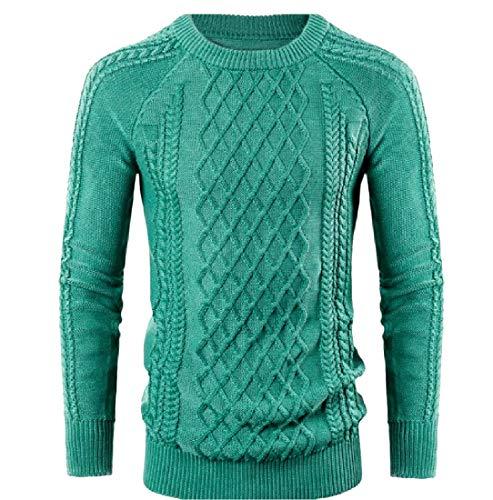 CuteRose Men Warm Classic Rib Fall Winter Long-Sleeve Crewneck Sweaters Green L (Crewneck Wool Green Pullover)