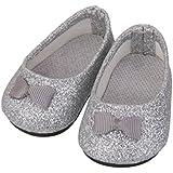 1 Par Zapatos Miniatura Bling para Muñecas American Girl Color Plata
