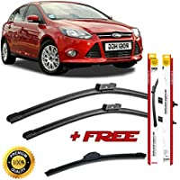 Set of 3 flat blade wiper blades for F0RD FOCUS MK3 BOX BODY 2011 rear wiper