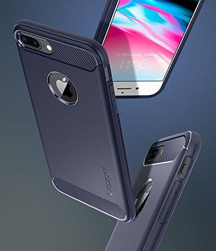 iPhone 7 PLUS Hülle, Spigen® [Rugged Armor] Elastisch [Schwarz] Ultimative Schutz vor Stürzen und Stößen - [Karbon Look] Schutzhülle für Apple iPhone 7 PLUS Case Cover - Black (043CS20485) RA Midnight Blue