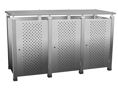 Mülltonnenbox Modell Pacco E für drei 120 ltr. Tonnen in Edelstahloptik