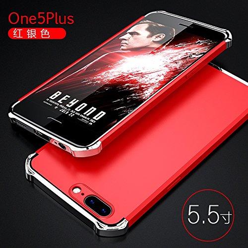 YHUISEN OnePlus 5 Case, Fashion 3 in 1 Heavy Duty High Impact Matte Plating Shockproof Anti-Drop PC Harte Schutzhülle für OnePlus 5 ( Color : Black Red ) Red Silver