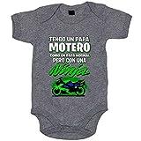 Body bebé tengo un papá motero moto Ninja - Gris, 6-12 meses