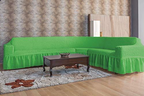 Mixibaby Eck Sofa Ecksofabezug Sofabezug Sofahusse Sesselbezug Sitzbezug Sofahusse, Farbe:apfelgrün