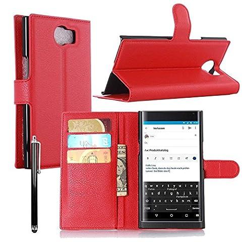 Owbb® Flip Housse Étui Coque de protection en PU cuir pour Blackberry Priv Smartphone -Rouge
