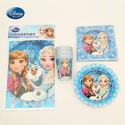 Party Supplies 23Pcs Für 6 Kinder Gefroren Anna Elsa Geburtstag Party Dekoration Geschirr Set, Teller + Tasse + Tischdecke + Servietten