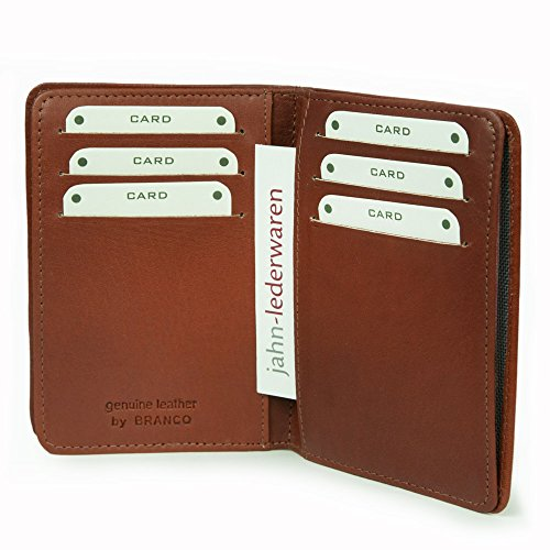 A7 Hülle / Etui / Mappe z.B. für Ausweis, Fahrzeugschein, Führerschein und Kredit-Karten, Echt-Leder, Braun, Branco 302 - 3