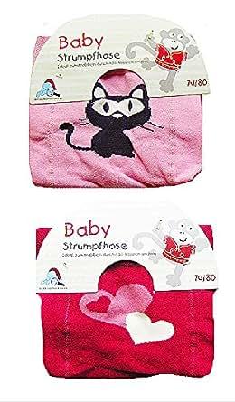2 Stück Baby Strumpfhosen mit ABS Noppen am Knie, Ideal zum Krabbeln, pink & rose Gr. 86/92