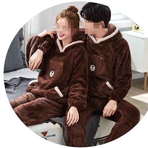 JZX Pyjamas Frauen, Winter Dicke Korallenrote Fleece-Paar Mit Kapuze Dicken Plüsch Niedlichen Cartoon XL Warm Home Service,Männlich braun,L