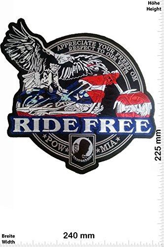 Mia-emblem (Patch - Ride Free - POW MIA - 24 cm - BIG - BIGPATCH - Rocker - Biker - Patches - Aufnäher Embleme Bügelbild Aufbügler)