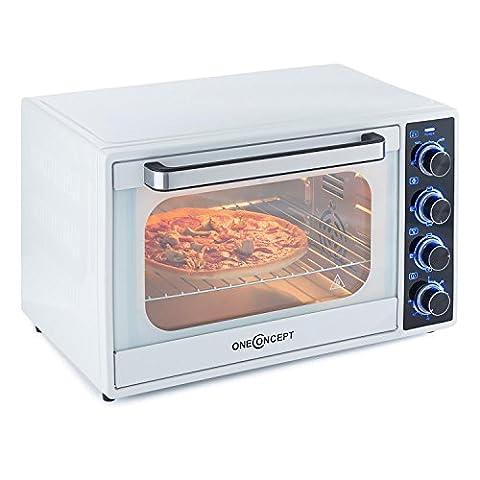 OneConcept Mothership Mini-Ofen Umluft Mini-Backofen mit Heißluft Pizzaofen (35 Liter, 1700 Watt, Timer, inkl. Backblech, Rost & Grill-Spieß, stufenlos regelbar 100 bis 250 °C) weiß