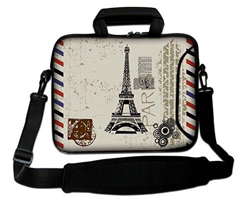 LUXBURG® 15,6 Zoll Schultertasche Notebooktasche Laptoptasche Tasche mit Tragegurt aus Neopren für Laptop / Notebook Computer - Der Eiffelturm