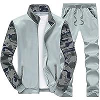 Gocgt Men's Fashion Active Zipper Sweatshirt Coat Sweatpant Set Track Suit