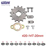 GOOFIT 420 14 T 20mm dents moto Pignon moteur Pignons coniques de chaîne Engine For 50cc 70cc 90cc 110cc Motorcycle Dirt Bike ATV Quad