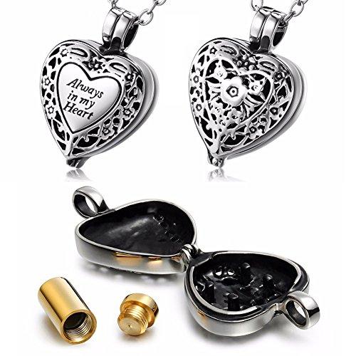 Yimosecoxiang - Soporte para urna de Acero de Titanio y Cenizas para Mascotas, cómodo y Hermoso, diseño de corazón, Color Plateado