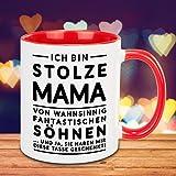 Tasse – stolze Mama (Söhne): Keramik Becher mit lustigem Aufdruck – witzige Geschenkidee für Mama – kreative Muttertagsgeschenke