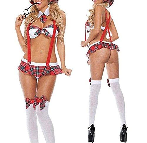 PriMi sexy Schulmädchenuniform im Bikini-Stil, verführerische Reizwäsche für ()