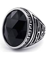 AnaZoz Plata Negro Clásico Oval CZ Acero Inoxidable Joyería de Moda Personalidad Simple Anillo de Hombre