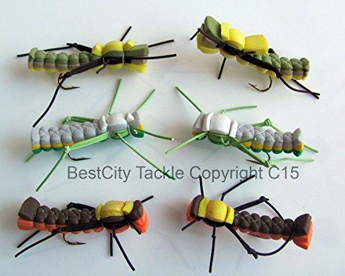 Pêche à la mouche flottant en mousse Sandwich Hoppers leurres pour basse Pike truite taille 8/10 Six Pack #74