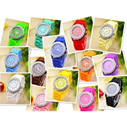 14 Colours New Fashion Chain Trim Soft Band Watch Women Geneva Watch Ladies Quarzt WatchQuartz watches Fabric watch