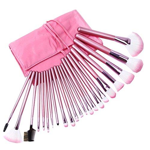 22pcs Pinceaux De Maquillage Ensemble Professionnel Maquillage Cosmétique Pinceau Ensemble Avec étui En Cuir Fard à Paupières Fard à Joues Cache-cernes,Pink