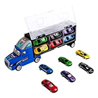 Zmoon Transport Carrier Truck Toy, Car Transporter with 12 Colorful Mini Metal Cars for Boys and Girls