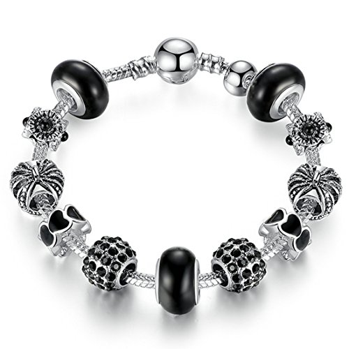 Peora Black Vintage Silver Plated Charms Glass and Heart Shaped Beads Pendant For Girls Women