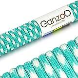 Paracord 550 Seil Türkis | Weiß | 31 Meter Nylon-Seil mit 7 Kern-Stränge | für Armband | Knüpfen von Hunde-Leine oder Hunde-Halsband zum selber machen | Seil mit 4mm Stärke | Mehrzweck-Seil | Survival-Seil | Parachute Cord belastbar bis 250kg (550lbs) - Marke Ganzoo