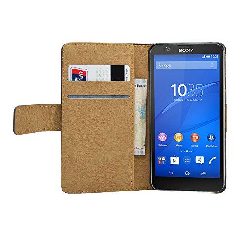 Membrane - Nero Portafoglio Custodia per Sony Xperia E4 / Xperia E4 Dual - Wallet Flip Case Cover + 2 Pellicola Protettiva