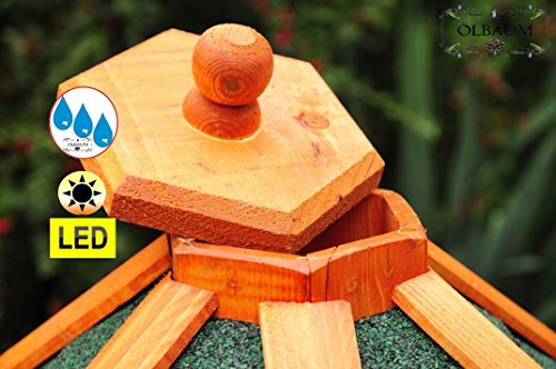 Vogelhaus-Futterhaus Massivholz,BTV PREMIUM Vogelhäuser, XXL ca. 70-75 cm, wetterfest Massivdach, mit Ständer Standfuß und Silo,Futtersilo für Winterfütterung mit Beleuchtung,Licht-LED -Holz Nistkästen & Vogelhäuser- aus Holz mit Ständer BGXL75grMS Vogel + Vogelhaus-Futterhaus Massivholz GRÜN - 3
