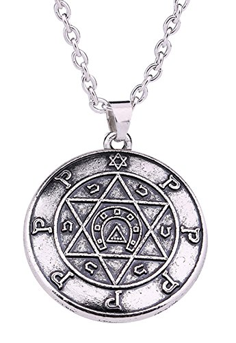 Vintage Gothic Solomon Seal of Luck Amulet Star of David with Horseshoe Pendant Kabbalah Necklace for Men Women