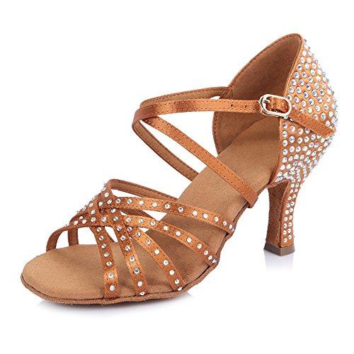 HIPPOSEUS Mujeres Salón de Baile Latino Zapatos Rhinestones Suela de Ante,ESAFCT40402,Marrón Color,EU 38