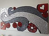 DORON ARTE QUADRO MODERNO ASTRATTO DIPINTO A MANO BORDI DIPINTI - INCASTRI - MISURE 40x80x4 cm - RIF23
