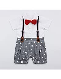 Ragazzo Baby Boy's Cotton Suspender Style Romper with Attached Bow, 3-6 Months (White, RAGA004)
