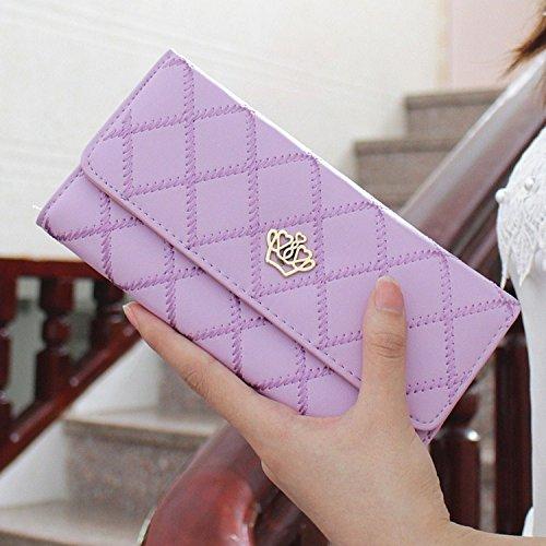 YOEEKU borsa del portafoglio Bifold da donna Coface con la chiusura lampoDonna Portafogli Crown Lungo Portamonete (Porpora) Porpora