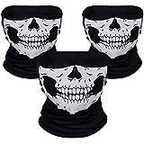 Rovtop Schädel Maske Gesichtsmaske für Fahrrad und Motorrad 3 Stück Schwarz