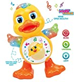 #8: CLAP N TAP Dancing Duck With Music and 3D Flashing Lights For Babies, Toddlers, Girls and Boys | Perfect Birthday (Return) Gift for Your Baby ,Dancing Duck Toy,LED Lighting Duck Walking ,Musical Sound Toy for Toddlers and Babies, Musical Duck Toy