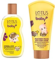Lotus Herbals Baby+ Eternal Love Baby Massage Oil, 100ml and aby+ Feathery Pecks Soft Baby Crème, 50g