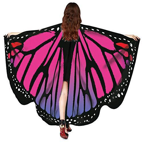 Drache Kostüm Zug - WOZOW Damen Schmetterling Schmetterlingsflügel Kostüm Faschingkostüme Poncho Schal Tuch Umhang für Party Cosplay Karneval Fasching (Heißes Rosa)