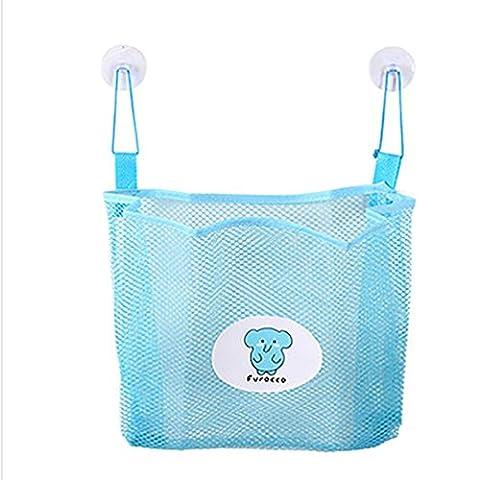 Sac de rangement, Mml® Bébé Enfants de bain Sac de rangement temps bien Rangé jouet Ventouse en maille filet Organiseur de salle de bain Net bleu