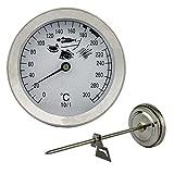 Friteusen - Öl - Fett Thermometer 300 C Edelstahl mit Clip Halterung . Bimetall und Analog