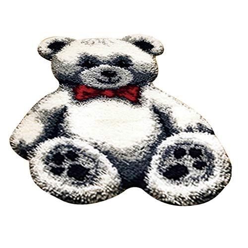 F Fityle Knüpfteppich für Kinder und Erwachsene zum Selber Knüpfen Teppich, Bär Muster - Weiß