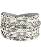 Caripe Damen Armband Wickelarmband Glitzer Steine viele Designs + Farben - strala (Modell 2 - silber)