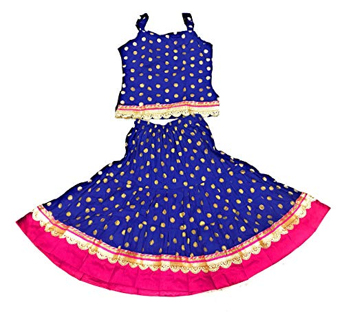 Anchal Collection Skirt Top for kid girls 1-6 years party wear printed summer dress in BLUE RED YELLOW (BLUE, 1-2 YEARS)