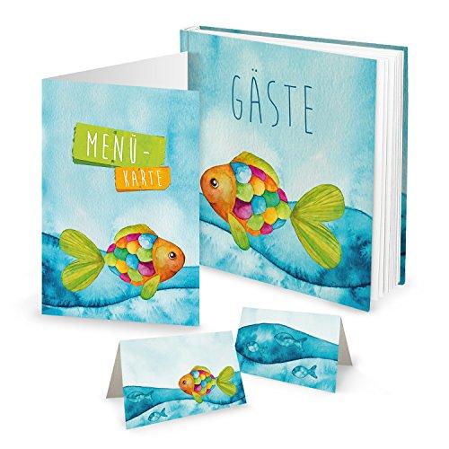 (SET: 25 Tischkarten + 10 Menükarten + Gästebuch blau türkis bunter Regenbogenfisch - maritime Tischdeko FISCH zur Taufe Kommunion Geburtstag Kindergeburtstag - für JEDEN Stift! Geschenk-Set)