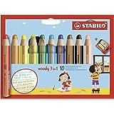 Stabilo 880/10-2 Woody 3-in-1 Kleurstift, Waterverf & Waskrijt, met Puntenslijper, 10 Verschillende Kleuren, 10 Stuks