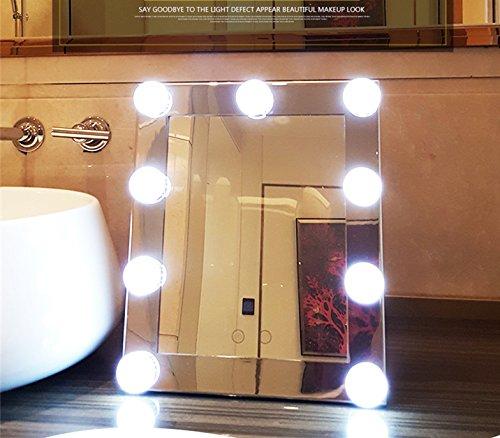 Schminkspiegel TOUCH Bildschirm mit 9Big-LED-Leuchtmittel Beleuchtete Spiegel Adjustbale Helligkeit - weiß - 8