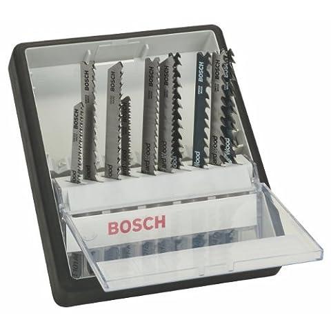 Bosch Robust Line / 2607010540 Coffret de lames pour scie sauteuse 10 pièces Bois Tige en T