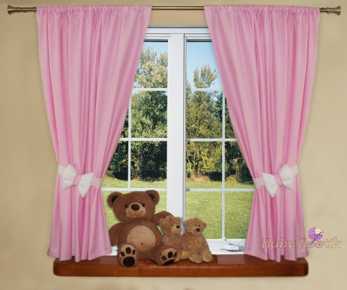 Nursery Curtains For Baby Room with Decorative Bows 62x62 inch - PLAIN PINK