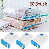 Yaheetech 20 Stück Vakuumbeutel Kleiderbeutel Aufbewahrungsbeutel Platzersparend für Kleidung und